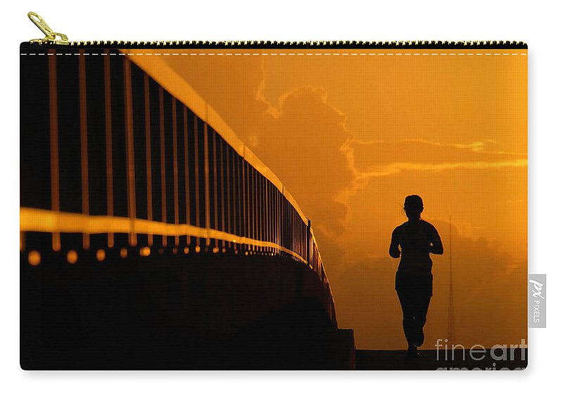 Running Carry-all Pouch featuring the photograph Running Girl by David Lee Thompson