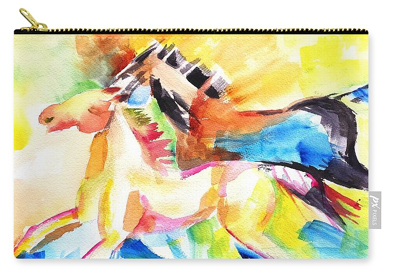 Horse Carry-all Pouch featuring the painting Running Horses Color by Carlin Blahnik CarlinArtWatercolor