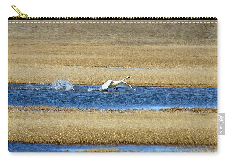 Swan Carry-all Pouch featuring the photograph Running On Water by Anthony Jones