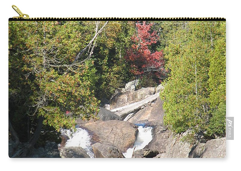 Waterfall Carry-all Pouch featuring the photograph Running Through The Woods by Kelly Mezzapelle