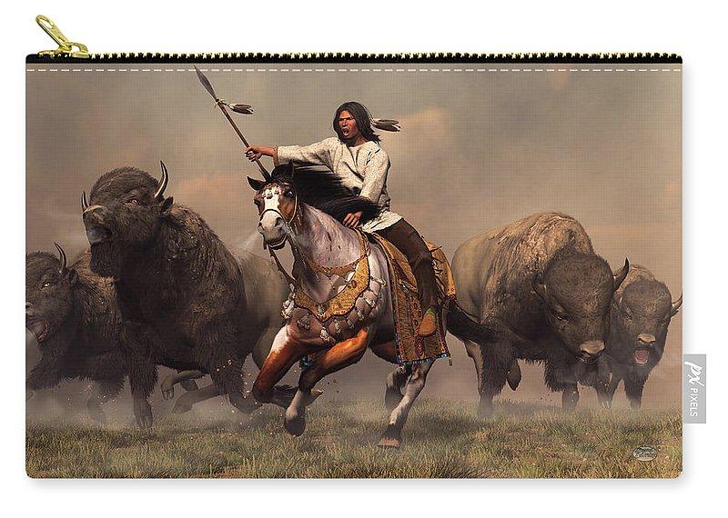Western Carry-all Pouch featuring the digital art Running With Buffalo by Daniel Eskridge