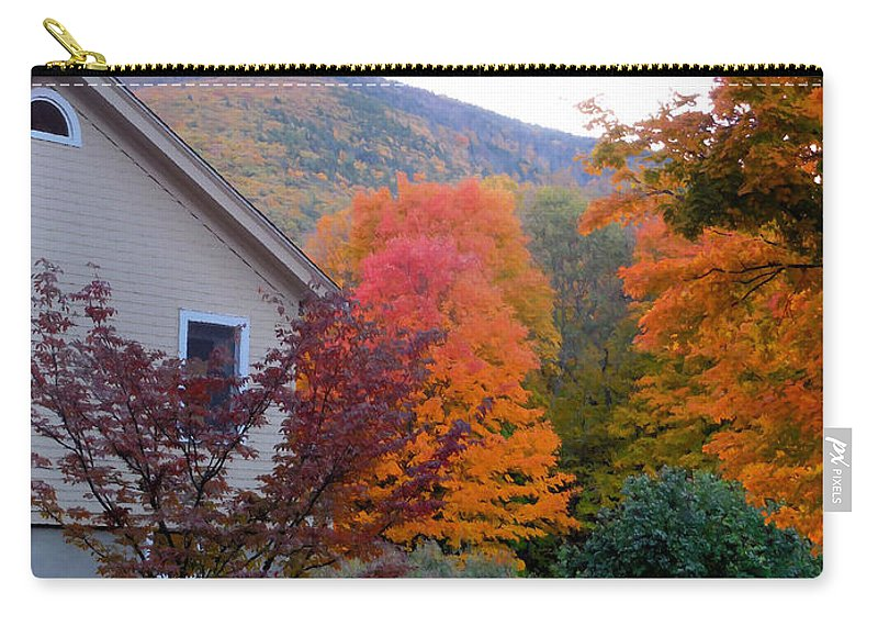 Rural Landscape Carry-all Pouch featuring the painting Rural Colorful Autumn Landscape 4 by Jeelan Clark