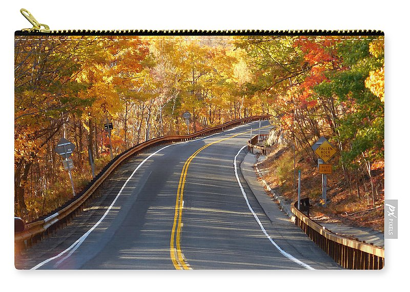 Autumn Scene With Road In Forest Carry-all Pouch featuring the painting Rural Road Running Along The Maple Trees In Autumn 2 by Jeelan Clark