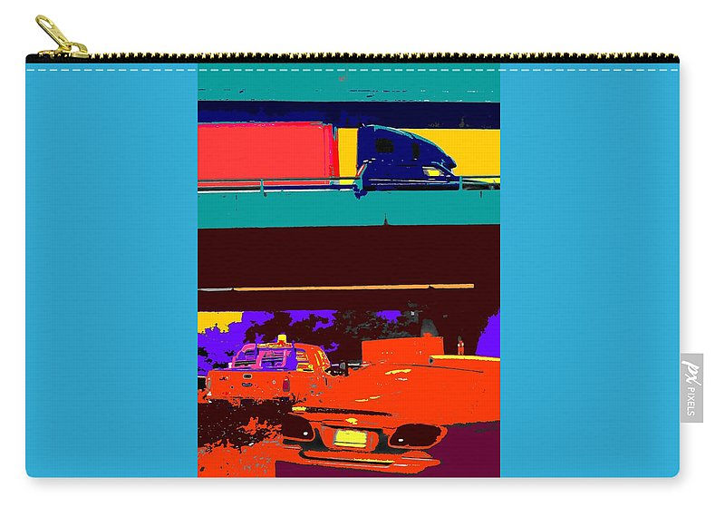 Cars Carry-all Pouch featuring the digital art Rushing To Nowhere by Ian MacDonald