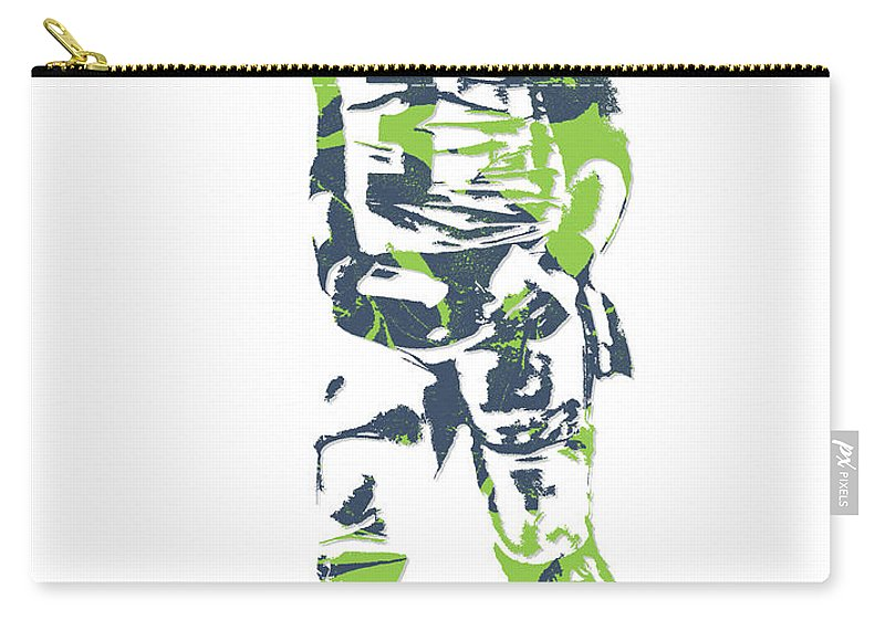 Russell Wilson Carry-all Pouch featuring the mixed media Russell Wilson Seattle Seahawks Pixel Art 11 by Joe Hamilton