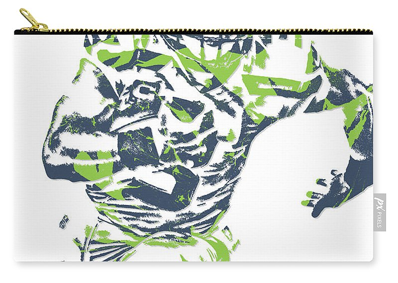 Russell Wilson Carry-all Pouch featuring the mixed media Russell Wilson Seattle Seahawks Pixel Art 12 by Joe Hamilton