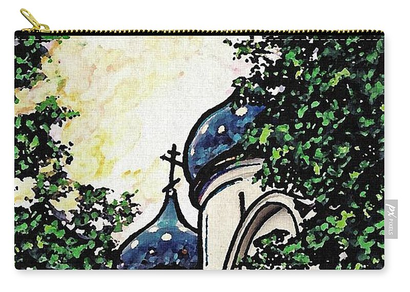 Holy Trinity Monastery Carry-all Pouch featuring the photograph Russian Church by Sarah Loft