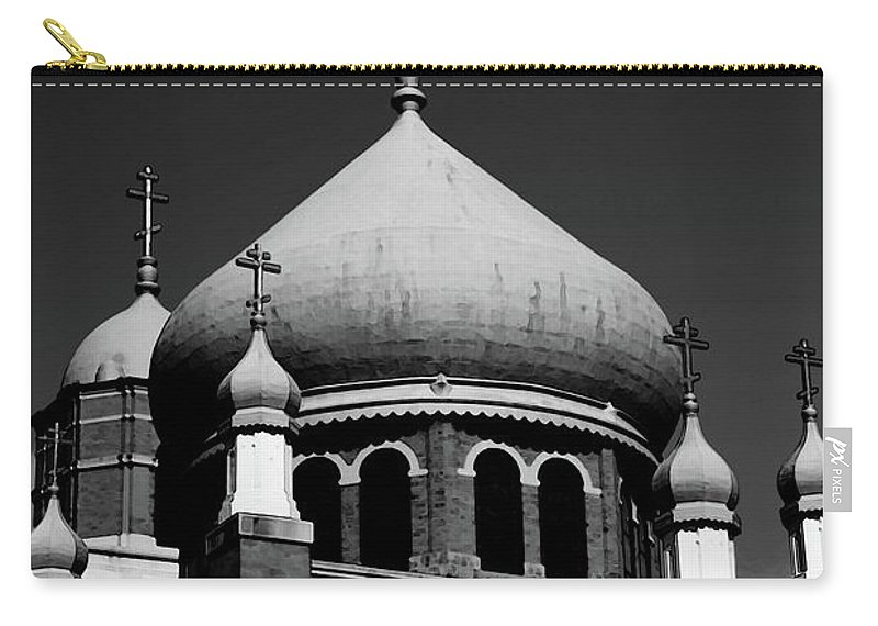 Russian Carry-all Pouch featuring the photograph Russian Orthodox Church Bw by Karol Livote