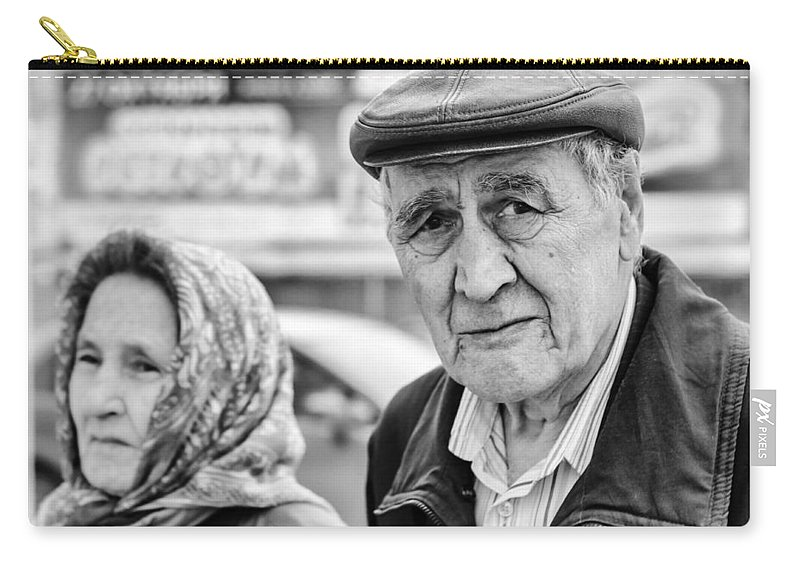 Monochrome Carry-all Pouch featuring the photograph Russian Pensioners Looking At Camera by John Williams