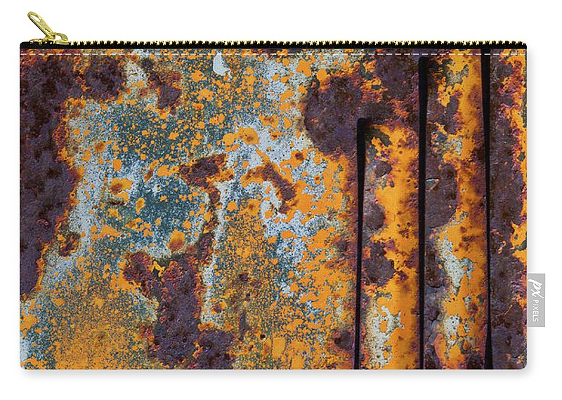 Orange Carry-all Pouch featuring the photograph Rust Abstract Car Part by Sharon Foelz