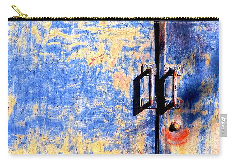 Door Carry-all Pouch featuring the photograph Rusted Blue And Yellow Door by Silvia Ganora
