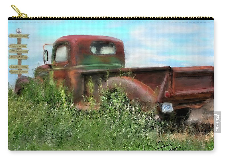 Rusted Out Trucks Carry-all Pouch featuring the painting Rusted Not Retired by Colleen Taylor