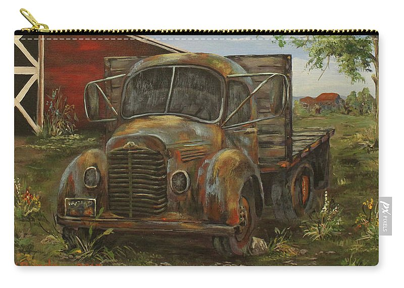Antique Carry-all Pouch featuring the painting Rusted Truck by Nadia Bindr