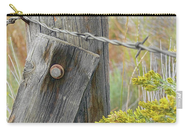 Fence Carry-all Pouch featuring the photograph Rustic Fence And Wild Flowers Montana by Jennie Marie Schell