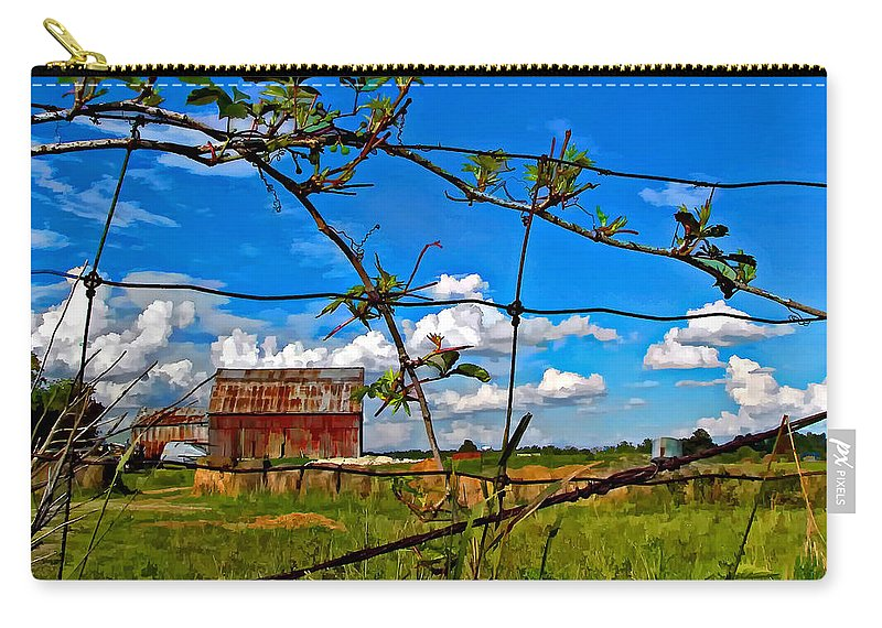 Fence Carry-all Pouch featuring the photograph Rustic Frame Paint by Steve Harrington