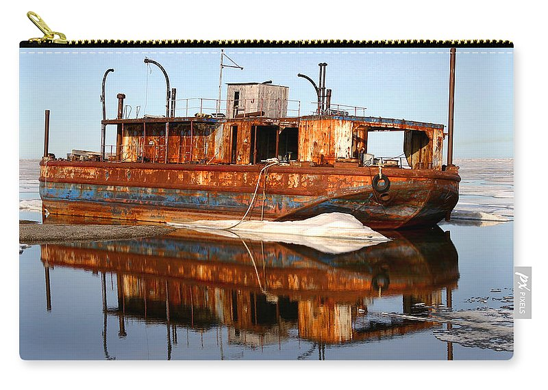 Boat Carry-all Pouch featuring the photograph Rusty Barge by Anthony Jones