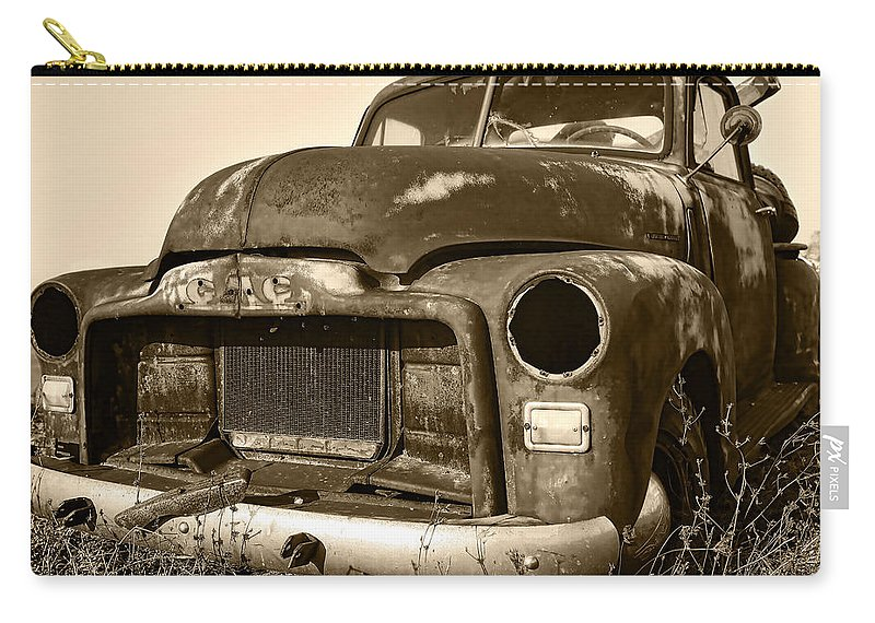 Vintage Carry-all Pouch featuring the photograph Rusty But Trusty Old Gmc Pickup by Gordon Dean II