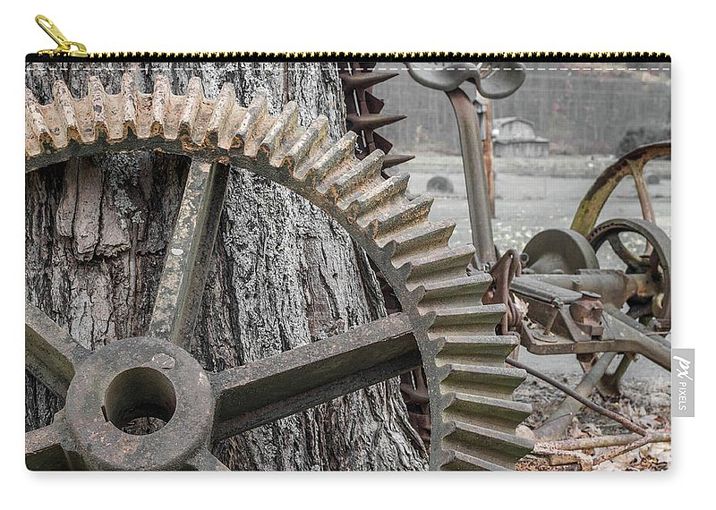 Farm Life Carry-all Pouch featuring the photograph Rusty Cog by Jim Love