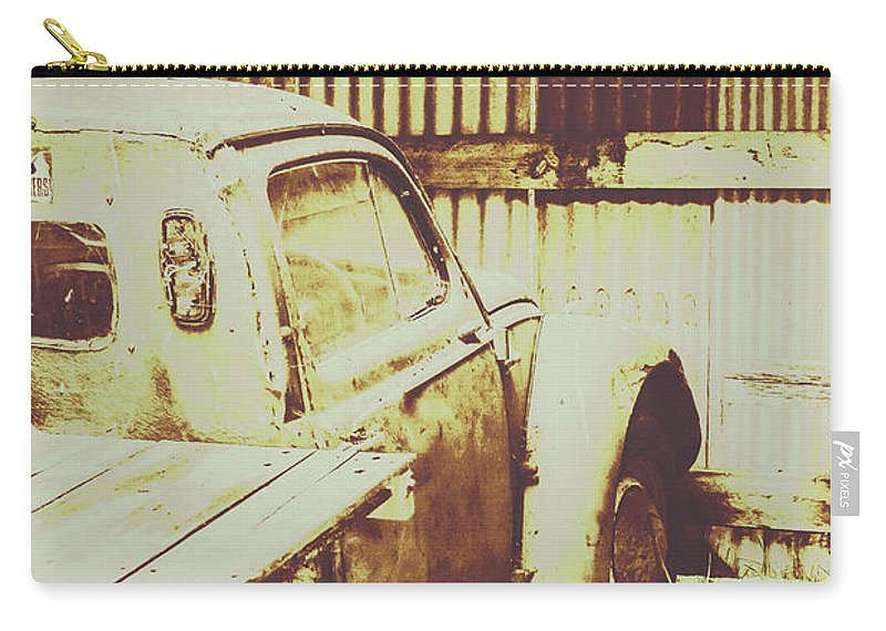 Pickup Carry-all Pouch featuring the photograph Rusty Pickup Garage by Jorgo Photography - Wall Art Gallery
