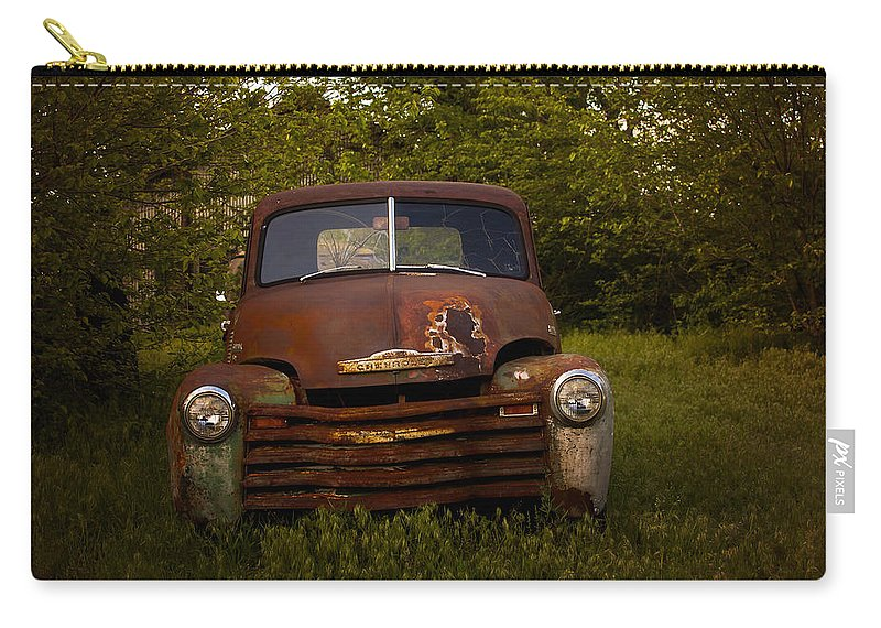 Rusted Chevy Carry-all Pouch featuring the photograph Rusty Red Chevy by Toni Hopper