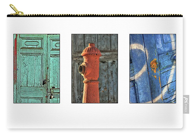 Triptych Carry-all Pouch featuring the photograph Rusty Triptych by Julian Regan