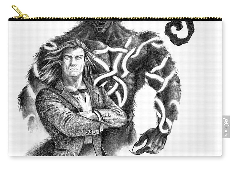 Werewolf Carry-all Pouch featuring the drawing Ryan With Werewolf by Melissa A Benson