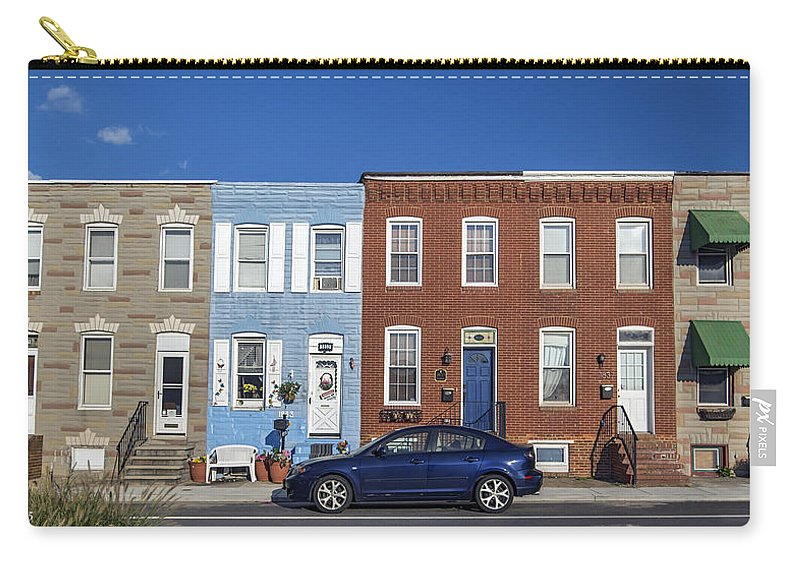 2d Carry-all Pouch featuring the photograph S Baltimore Row Homes - Wide by Brian Wallace