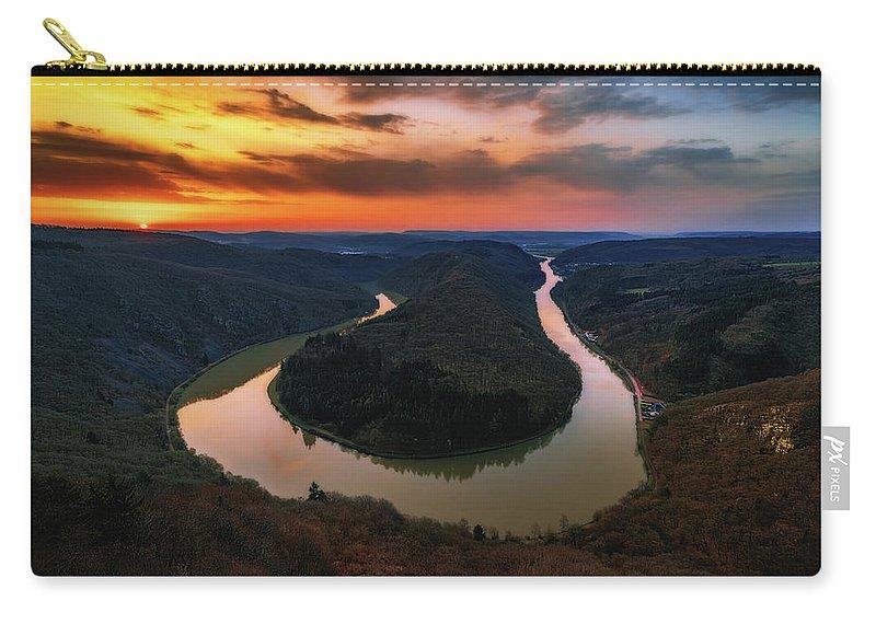 Saarschleife Carry-all Pouch featuring the photograph Saarschleife by Marc Braner