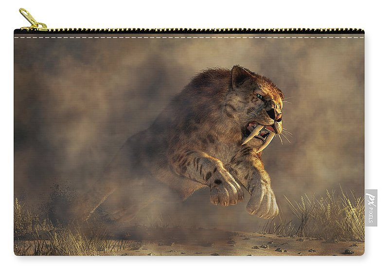 Sabre Tooth Pounce Carry-all Pouch featuring the digital art Sabre Tooth Pounce by Daniel Eskridge