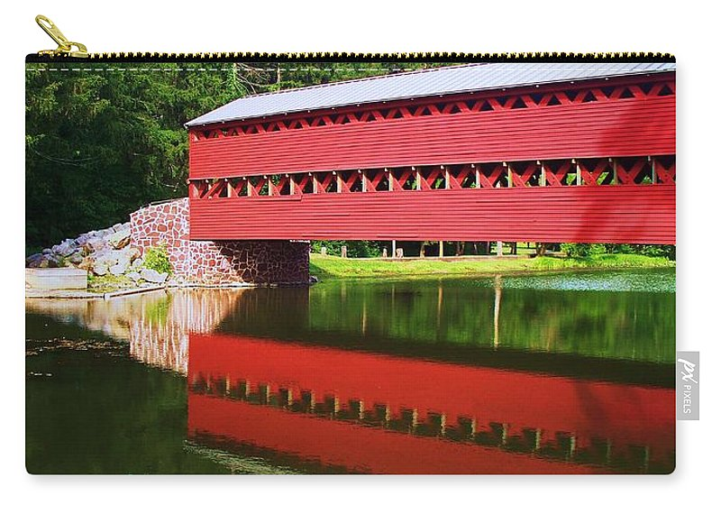 Sachs Bridge Carry-all Pouch featuring the painting Sachs Bridge by Eric Schiabor