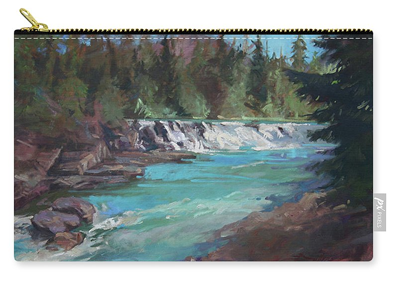 Glacier National Park Carry-all Pouch featuring the painting Sacred Dancing Cascade by Betty Jean Billups