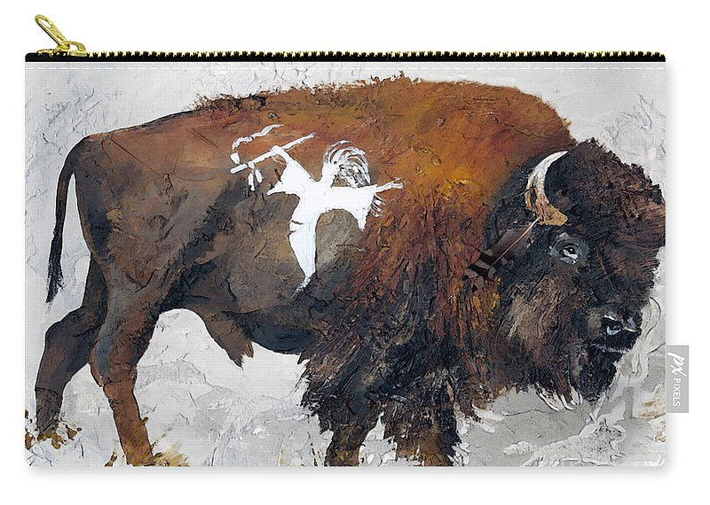 Southwest Art Carry-all Pouch featuring the painting Sacred Gift by J W Baker