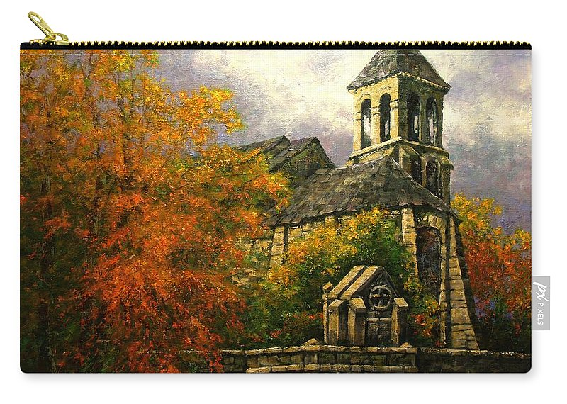 Paris Carry-all Pouch featuring the painting Sacred Heart Chapel Paris by Jim Gola