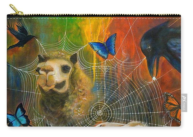 Animals Carry-all Pouch featuring the painting Sacred Journey by Deborha Kerr