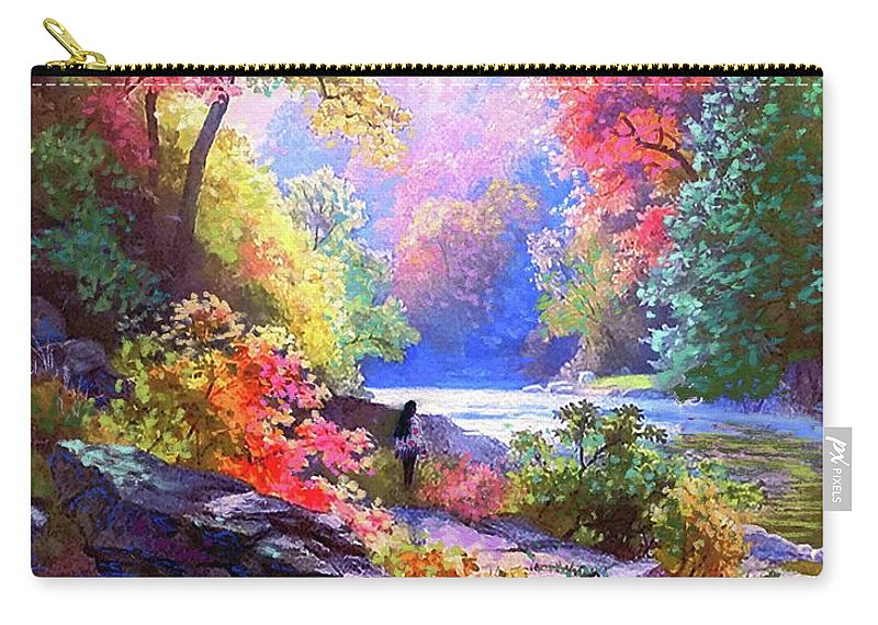 Meditation Carry-all Pouch featuring the painting Sacred Landscape Meditation by Jane Small