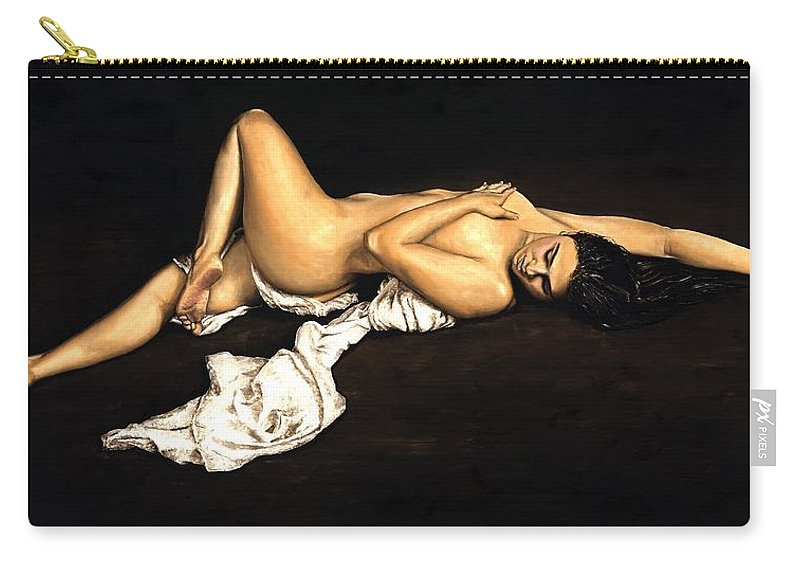 Nude Carry-all Pouch featuring the painting Sacred by Richard Young