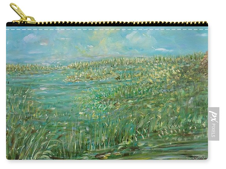 Inspirational Painting Carry-all Pouch featuring the painting Sacred Secrets by Sara Credito