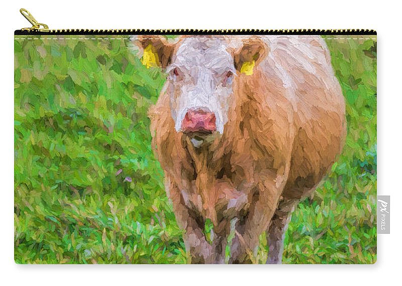 One Carry-all Pouch featuring the photograph Sad Cow - Painterly by Les Palenik
