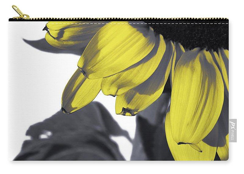 Sad Carry-all Pouch featuring the photograph Sad Sunflower by Kelly Jade King