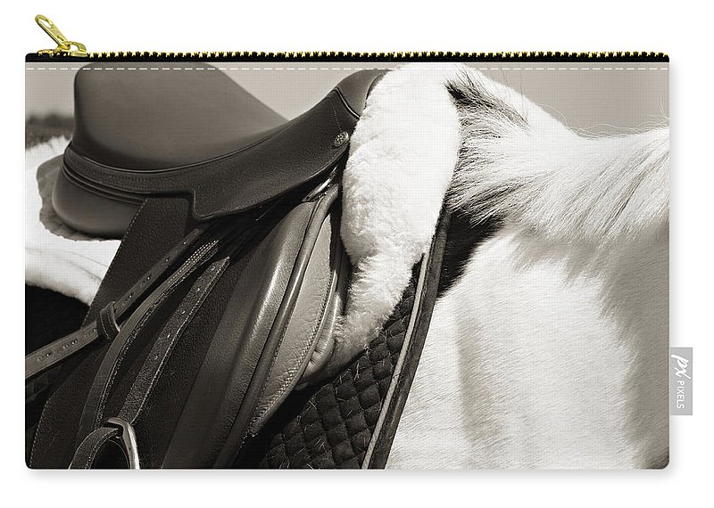 Horse Carry-all Pouch featuring the photograph Saddle And Softness by Marilyn Hunt