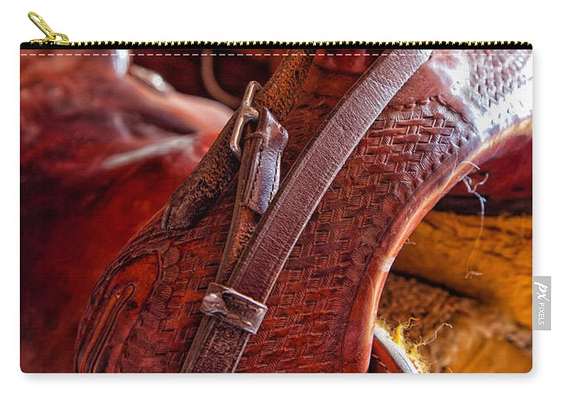 America Carry-all Pouch featuring the photograph Saddle In Tack Room by Inge Johnsson