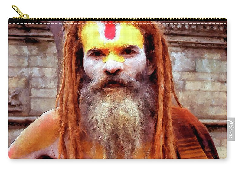 India Carry-all Pouch featuring the painting Sadhu by Dominic Piperata