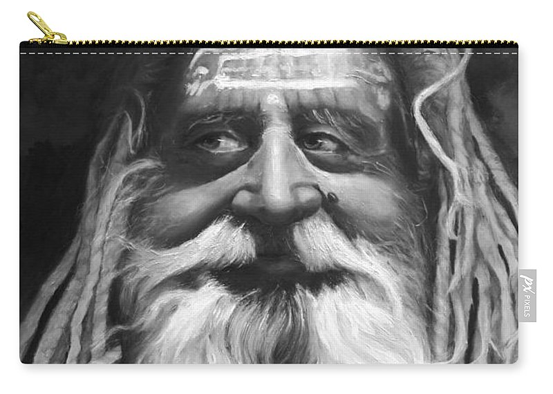 Sadhu Carry-all Pouch featuring the painting Sadhu by Portraits By NC