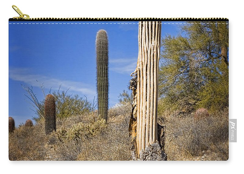 Saguaro Carry-all Pouch featuring the photograph Saguaro Cactus Skeleton by Kelley King