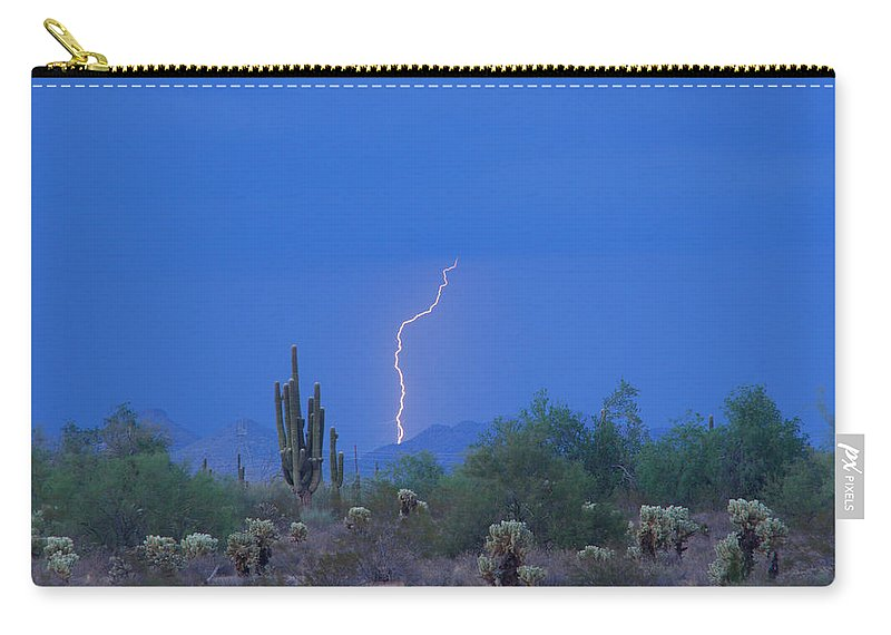 Lightning Carry-all Pouch featuring the photograph Saguaro Desert Lightning Strike Fine Art by James BO Insogna