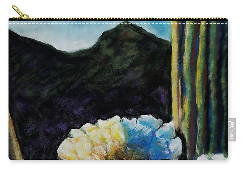 Desert Carry-all Pouch featuring the painting Saguaro In Bloom by Frances Marino