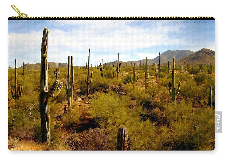 Saguaro Carry-all Pouch featuring the photograph Saguaro National Park by Kurt Van Wagner