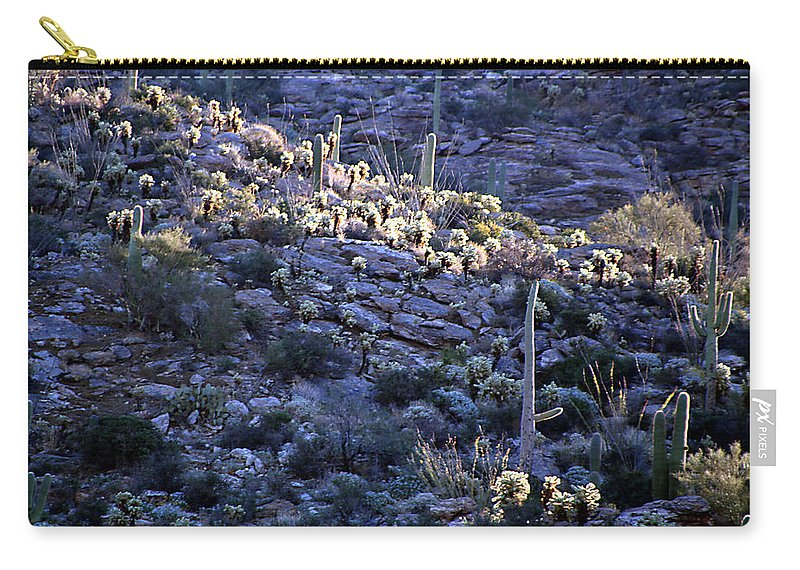 Cactus Carry-all Pouch featuring the photograph Saguaro Sunrise by Joe Kozlowski
