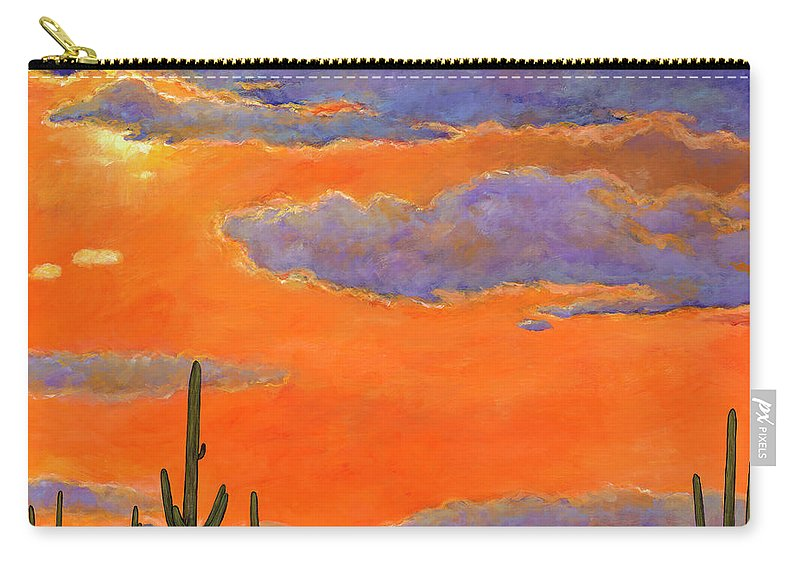 Southwest Art Carry-all Pouch featuring the painting Saguaro Sunset by Johnathan Harris