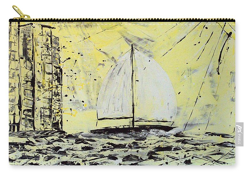 Sailboat With Sunray Carry-all Pouch featuring the painting Sail And Sunrays by J R Seymour